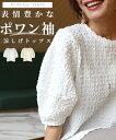 (全2色) デザイン トップス Tシャツ トップス ポワン袖 リップル生地 凹凸生地 涼しい 伸びる 伸縮性 透け感 無地 カ…