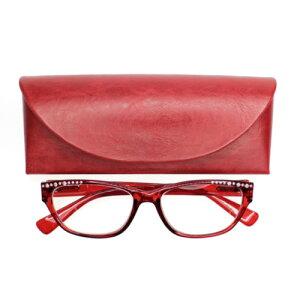 老眼鏡 女性 おしゃれ 男女兼用 眼鏡ケース付き ラインストーン エレガントウェリントン(レッド) 度数 1.5 2.0 2.5 3.0 3.5 ブランド Bayline ベイライン