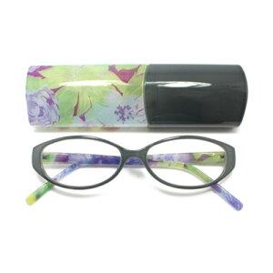 老眼鏡 女性 おしゃれ 40 代 女性老眼鏡 バルフレーム バイカラー フラワー (ピンク×ブラウン) 眼鏡ケース付き 度数 1.0 1.5 2.0 2.5 3.0 ブランド Bayline ベイライン