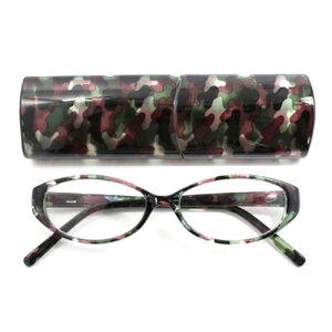 老眼鏡 女性 おしゃれ 男女兼用オーバルフレーム カモフラージュ 眼鏡ケース付き 度数 1.0 1.5 2.0 2.5 3.0 3.5 ブランド Bayline ベイライン