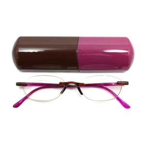 老眼鏡 女性 おしゃれ 男女兼用 LUXE LUXE PC ノンフレーム バイカラー (カシス) クロス付き 眼鏡ケース付き 度数 1.0 1.5 2.0 2.5 3.0 ブランド Bayline ベイライン