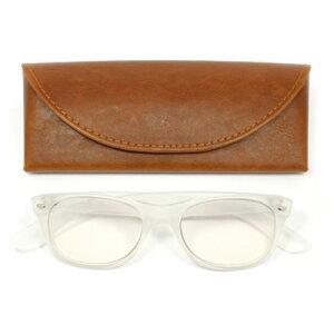 老眼鏡 男性 おしゃれ 男女兼用 PC ジュアル ウェリントン (フロスト) 眼鏡ケース付き 度数 1.0 1.5 2.0 2.5 ブランド Bayline ベイライン
