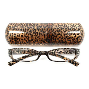 老眼鏡 女性 おしゃれ 男女兼用 PC エレガント スクエア サイドラインストーン クリアヒョウ (ブラウン) pc老眼鏡 おしゃれ軽量 度数 1.0 1.5 2.0 2.5 3.0 3.5 ブランド Bayline ベイライン