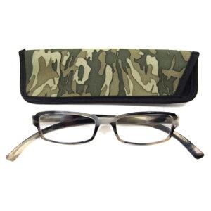 老眼鏡 おしゃれ メンズ ブルーライトカット 男性用 軽量 ネックリーダーズ 首かけ 眼鏡ケース付き スタンダードカモフラージュ (グリーン) 度数 1.0 1.5 2.0 2.5 3.0 3.5 ブランド Bayline ベイライ