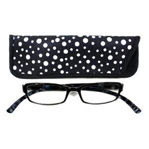 老眼鏡 おしゃれ メンズ ブルーライトカット 男性用 軽量 ネックリーダーズ 首かけ 眼鏡ケース付き スタンダードドット (ブラック) 度数 1.0 1.5 2.0 2.5 3.0 3.5 ブランド Bayline ベイライン
