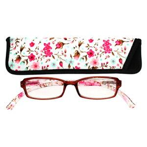 老眼鏡 おしゃれ 男女兼用 軽量 ネックリーダーズ 首かけ ブルーライトカット 眼鏡ケース付き スタンダードスモールフラワー(クリアピンク) 度数 1.0 1.5 2.0 2.5 3.0 3.5 ブランド Bayline ベイライ