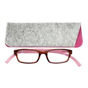 老眼鏡 おしゃれ 男女兼用 軽量 ネックリーダーズ 首掛け 老眼鏡 ブルーライトカット 眼鏡ケース付き 40 代 女性 老眼鏡 バイカラー(クリアブラウン×ピンク) 度数 1.0 1.5 2.0 2.5 3.0 ブランド Bayl