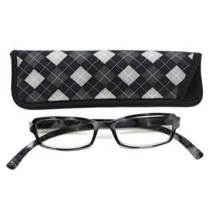 老眼鏡 おしゃれ 男女兼用 軽量 ネックリーダーズ ネックリーダー老眼鏡 ブルーライトカット 眼鏡ケース付き バイカラー アーガイル ブラック 度数 1.0 1.5 2.0 2.5 3.0 3.5 ブランド Bayline ベイラ