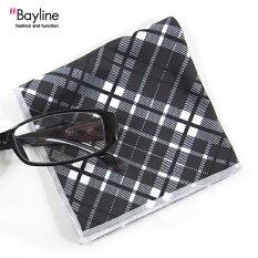 おしゃれで可愛い眼鏡拭き♪めがね拭きクロスメガネpcチェック柄(ブラック)メガネ拭きチェック柄