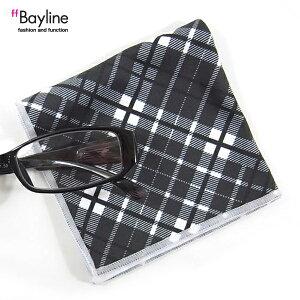 眼鏡拭き【チェック柄 ブラック】 おしゃれ メガネ クロス かわいい チェック柄 ブラック プレゼント に最適 メガネ拭き 男性用 女性用 ブランド Bayline ベイライン
