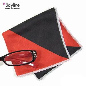 眼鏡拭き【バイカラー ブラック×レッド 】 おしゃれ メガネ クロス かわいい バイカラー ブラック×レッド プレゼント に最適 メガネ拭き 男性用 女性用ブランド Bayline ベイライン