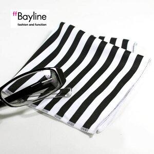 眼鏡拭き 【ストライプブラック】 おしゃれ メガネ クロス かわいい ストライプ柄 ブラック プレゼント に最適 メガネ拭き 男性用 女性用 ブランド Bayline ベイライン