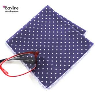 漂亮,可愛的眼鏡擦布眼鏡擦布交叉眼鏡pc點花紋(深藍小)貝拉in
