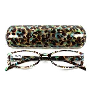 老眼鏡 おしゃれ 男女兼用 軽量 スクエア ワイド サイドラインストーン クリアヒョウ (グリーン) 眼鏡ケース付き 度数 1.5 2.0 2.5 ブランド Bayline ベイライン