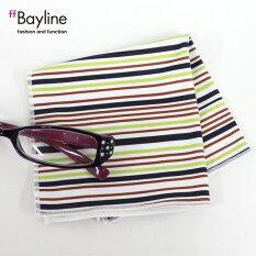 眼鏡拭き【マルチストライプ柄(ライトグリーン)】おしゃれメガネクロスかわいいストライプライトグリーンプレゼントに最適メガネ拭き男性用女性用ブランドBaylineベイライン