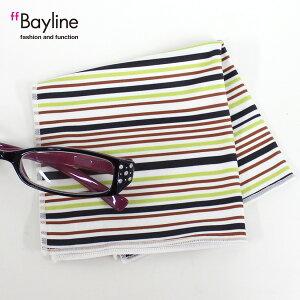 眼鏡拭き【マルチストライプ柄(ライトグリーン) 】 おしゃれ メガネ クロス かわいい ストライプ ライトグリーン プレゼント に最適 メガネ拭き 男性用 女性用ブランド Bayline ベイライン