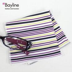 眼鏡拭き【マルチストライプ柄(パープル)】おしゃれメガネクロスかわいいストライプパープルプレゼントに最適メガネ拭き男性用女性用ブランドBaylineベイライン