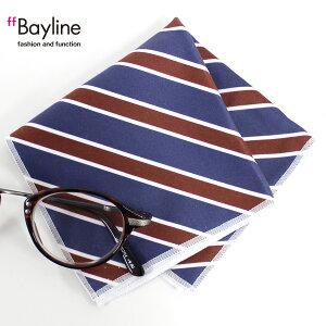 眼鏡拭き【ストライプ斜め(ネイビー)】 おしゃれ メガネ クロス かわいい ストライプ ネイビー プレゼント に最適 メガネ拭き 男性用 女性用ブランド Bayline ベイライン