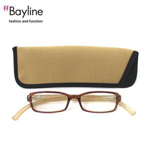 老眼鏡 おしゃれ 男女兼用 軽量 ネックリーダーズ 首かけ ブルーライトカット 眼鏡ケース付き クリアブラウン×ベージュ 度数 1.0 1.5 2.0 2.5 3.0 3.5 ブランド Bayline ベイライン