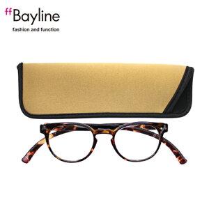 老眼鏡 女性 おしゃれ 男女兼用 軽量 ネックリーダー ボストン老眼鏡 首 に 掛け られる老眼鏡 ブルーライトカット 眼鏡ケース付き デミブラウン 度数 1.0 1.5 2.0 2.5 3.0ブランド Bayline ベイライ