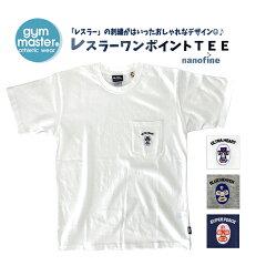 ジムマスターTシャツ半袖g433604覆面レスラーポイント刺繍Teetシャツ半袖ホワイトメンズレディースユニSMLLL【gymmaster】