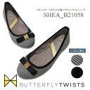 New バタフライツイスト 安心の【国内正規品】SHEA Butterflytwists リボン エナメル ローヒール パンプス バレエシュ…