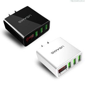 iPhone, スマホ充電用AC-USBアダプター USB3ポート付き 合計3.0A, 1口最大2.4A出力でiPad他タブレットも充電可能。