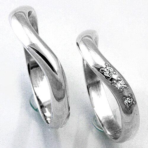 【2本セット価格 プラチナ900】 女性用に3石のダイヤモンド プラチナPt900ダイヤモンドペア・マリッジリング2本セット UD−3 【STYLERINGオリジナル結婚指輪】【楽ギフ_包装】【楽ギフ_名入れ】