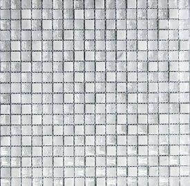 ストーンモザイク モザイク石材 モザイクタイル 白 石材 天然石モザイク 大理石 & ガラスモザイク シート 15角 マーブルモザイク ホワイト 白 15mm角 小口出荷1シート