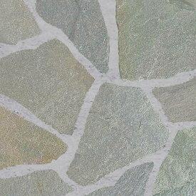 乱形石 乱形 石材 石 自然石 シャイングリーン 1ケース 販売 束 0.5m2 0.5平米 石英岩 緑 グリーン クォーツサイト 庭 石 アプローチ ガーデニング 【送料無料】