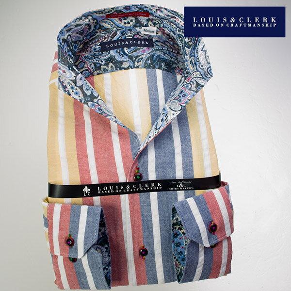 1607 綿100国産長袖ドレスシャツ イタリアンススキッパースタンド ブロックマルチストライプ&サッカーストライプメンズ fs3gm