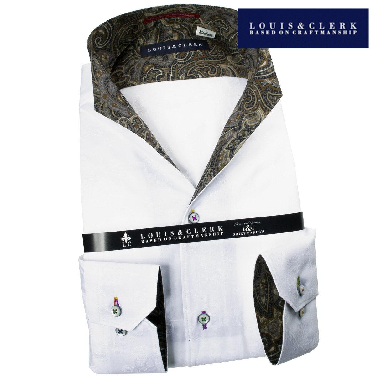 1709 綿100国産長袖ドレスシャツ イタリアンススキッパースタンド ホワイトジャガードボタニカルメンズ fs3gm