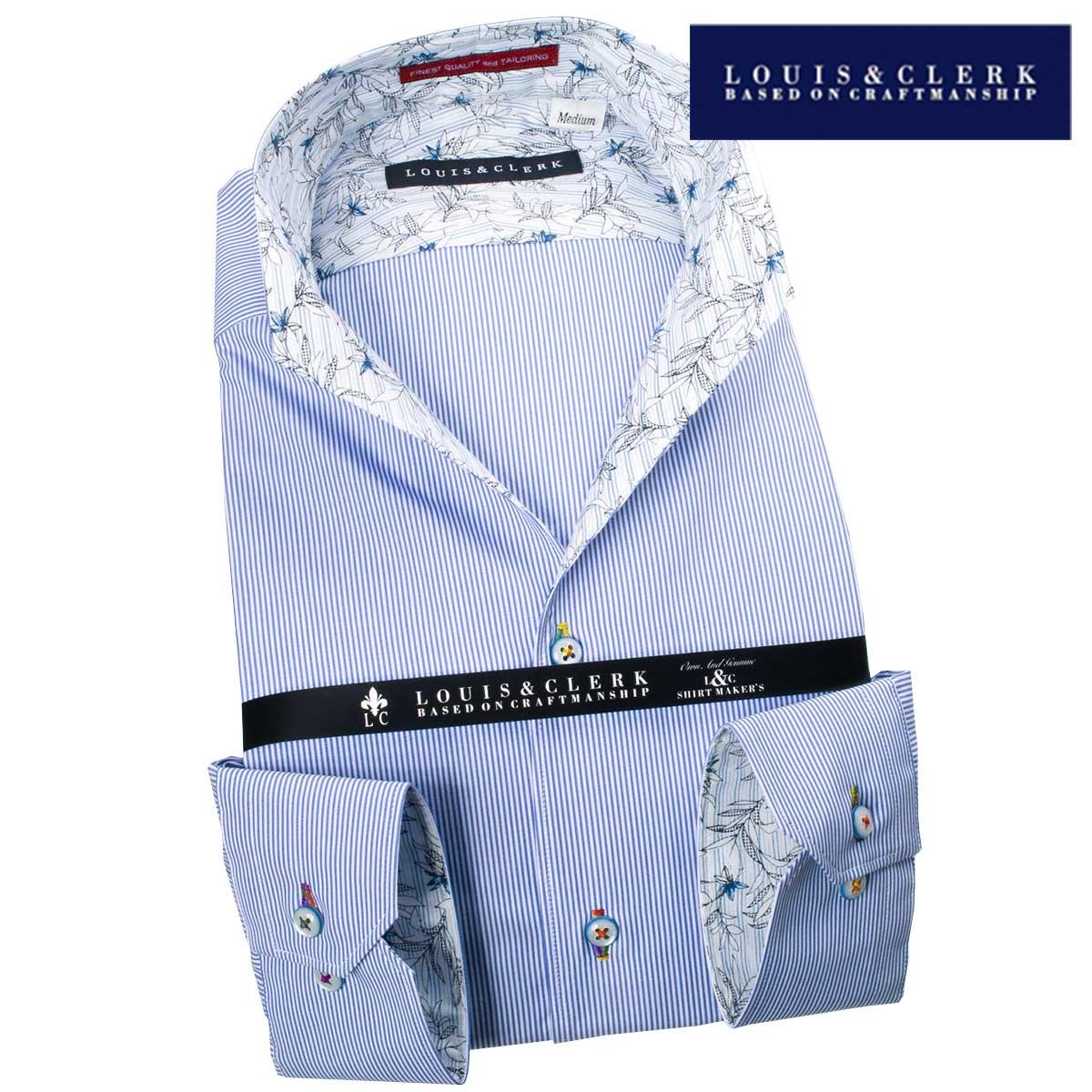 1709 国産長袖綿100ドレスシャツ コンフォート イタリアンススキッパースタンド ブルーペンストライプメンズ fs3gm