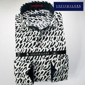1612 送料無料 国産長袖綿100ドレスシャツ カッタウェイワイドカラー 白黒モノトーン ゼブラ・フリーハンド・うろこ・波柄メンズ fs3gm 派手 個性的 オシャレ
