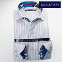1703 国産長袖綿100ドレスシャツ コンフォート カッタウェイワイドカラー パープル・グリーン マルチストライプメンズ fs3gm
