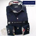1703 国産長袖綿100ドレスシャツ スリムフィット カッタウェイワイドカラー ホワイトジャガードトロピカル・ハイビスカスメンズ fs3gm