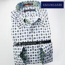 1705 国産長袖綿100ドレスシャツ ボタンダウンカラー ブルー・ネイビーダマスクプリント・ホワイトジャガードフラワ…