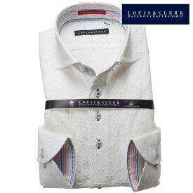 1805 国産長袖純綿ドレスシャツ コンフォート カッタウェイワイドカラー ホワイト レースコインドット柄メンズ fs3gm