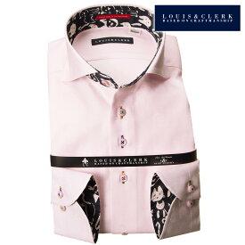 1810 国産長袖ドレスシャツ コンフォート カッタウェイワイドカラー パステルピンク ジャガード髑髏・ドクロ・しゃれこうべメンズ