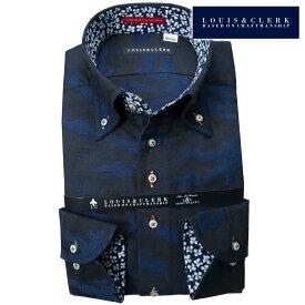 1811 国産長袖綿100ドレスシャツ コンフォート ボタンダウン コットンツイル ダークネイビー ジャガード迷彩柄メンズ【クリアランス】