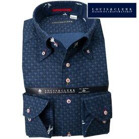 1811 国産長袖綿100ドレスシャツ コンフォート ボタンダウン コットンフランネル ダークネイビー千鳥格子メンズ 派手 個性的 オシャレ