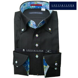 1901 国産長袖綿100ドレスシャツ コンフォート ボタンダウン ブラック ジャガード 竹・バンブージャガード織ストライプメンズ 派手 個性的 オシャレ【クリアランス】