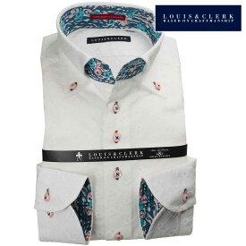 国産長袖綿100%ドレスシャツ コンフォート ボタンダウンカラー 白 ホワイト レース 花柄 ダイア メンズ fs3gm 派手 個性的 オシャレ