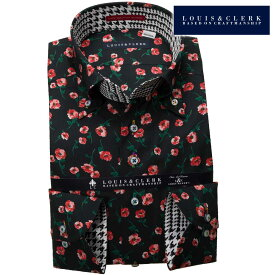 1903 国産長袖純綿ドレスシャツ コンフォート ボタンダウン プリント柄 ブラック 赤い花柄プリントメンズ fs3gm 派手 個性的 オシャレ