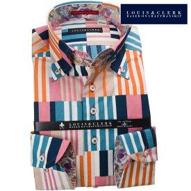 国産長袖綿100%ドレスシャツ コンフォート ボタンダウンカラー クレイジーパターン風マルチカラーストライププリント 1906メンズ 派手 個性的 オシャレ【クリアランス】