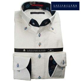 国産長袖綿100%ドレスシャツ コンフォート ボタンダウンカラー 白 ホワイト レース 小花柄&六角形メンズ 派手 個性的 オシャレ【クリアランス】