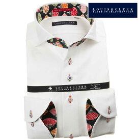 ドレスシャツ ワイシャツ シャツ メンズ 国産 純綿 長袖 コンフォート カッタウェイワイドカラー ホワイト ジャガードリボンドット 1908 【202011】