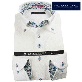 国産長袖綿100%ドレスシャツ コンフォート ボタンダウン 白 ホワイト レース花葉蔦柄 1907メンズ fs3gm 派手 個性的 オシャレ