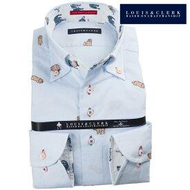 国産長袖ドレスシャツ ボタンダウン  綿100% ライトブルー ブルドッグ柄カットジャガードドット 1907メンズ fs3gm 派手 個性的 オシャレ