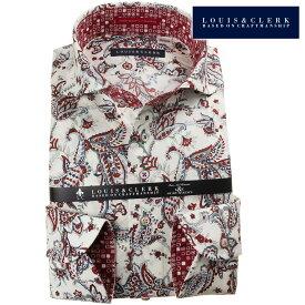 ドレスシャツ ワイシャツ シャツ メンズ 国産 長袖 純綿100% コンフォート カッタウェイワイド オフホワイト ペイズリー柄デザインプリント マルーン グレー ネイビー 1909 fs3gm